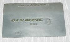 Rare Vintage Olympic Airways Metal Ticket Validation Plate Travel Agency