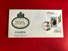 GAMBIA 1985 FDC QUEEN MOTHER 85TH BIRTHDAY MINISHEET ROYALTY