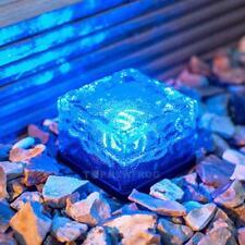 Solar Powered LED Ice Cube Glass Rock Brick Light Garden Path Decor Outdoor Lamp