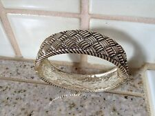 TEXTURED ANTIQUED SILVER TONE HINGED CUFF BRACELET