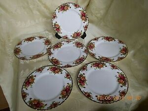 """6 ROYAL ALBERT OLD COUNTRY ROSES SALAD PLATES 8"""" Dia. 1ST QUALITY ."""