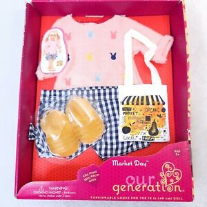 NEW Our Generation Market Day doll Outfit bunny sweater shorts shoes shorts bag