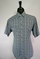 Wrangler Men's  Plaid Snap Button Up Western Shirt Size LARGE L SHORT SLEEVE