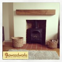 Solid Oak Beam Floating Wooden Shelf - Rustic Wood Mantel Fireplace Surround