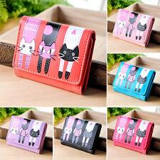 Ladies Girls Cute Mini PU Clutch Bag Cat Wallet Purse Coin Card Holder Handbag *