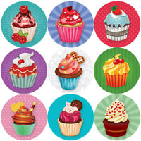 144 Colourful Cupcakes 30mm Children's Reward Stickers for Teachers or Parents