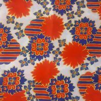 Vintage Fabric 1970s Mod Red White Blue Flower Power Stripes Polyester