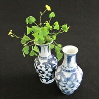 Lot (2) Bud Vases Miniature Chinese Porcelain Blue on White Floral 3 1/2""