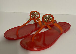 Tory Burch Mini Miller Jelly Orange / Red Thong Sandals Size 5