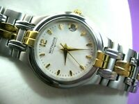WITTNAUER LAUREATE SWISS 12M01 LADIES CASUAL WATCH S/S & G/P DATE SILVER DIAL