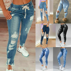 ❤️ Women's Casual Skinny Ripped Stretch Jeans High Waist Denim Pants Trousers US