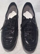 Tod's Black Patent Leather Sneaker Ladies Size USA 8  EU 38 Wave All Multistrato