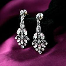 Vintage Silver Art Deco Crystal Pavé-Encrusted Cluster Leaf Dangle Drop Earrings