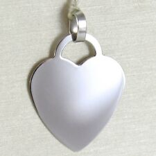 COLGANTE ORO BLANCO 750 18 CT CORAZÓN, GRABADO, LARGO 2.3 CM, MADE IN ITALY