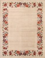 transitional Floral Open-Field Oriental Hand-Tufted 9'x12' Beige Wool Area Rug