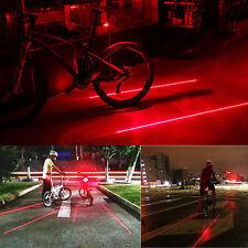 2 Laser+5 LED Flashing Lamp Light Warning Rear Cycling Bicycle Bike Tail RED