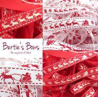 Berties Bows Santa's Sleigh Christmas Ribbon - 2 Colours - Reindeer Multi Buy