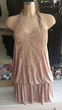 MNG SUIT peach halterneck low back dress with lace detail medium hippy festival