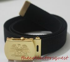 "NEW GOLD EAGLE ADJUSTABLE 52"" INCH BLACK CANVAS MILITARY GOLF WEB BELT BUCKLE"
