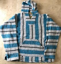 Baja Joe Striped Woven Eco-Friendly Pullover Mexican Hoodie Pastel Aqua New