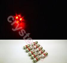 10 PCS BA9S 5 X 5050 SMD LED Red Super Bright Car Side Lights Lamp Bulb DC 12V