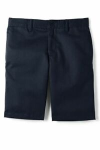 Lands' End Uniform Boys Front Chino Shorts Classic Navy 14 Slim NEW 231167