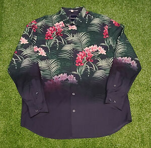 Tommy Bahama Men's Copyright Print Black Floral Silk & Cotton LS Shirt  XL NWOT