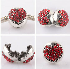 1pcs silver love ball red CZ snap beads fit Charm European Bracelet DIY AB957