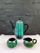 More details for canada blue mountain pottery coffee pot jug sugar set green black drip glaze