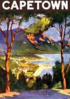 "Vintage Illustrated Travel Poster CANVAS PRINT CapeTown South Africa 24""X16"""
