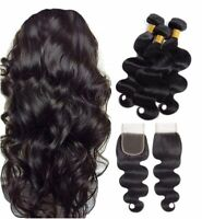 tissage bresilien en lot 3 avec closure bresilien human hair bundles et closure