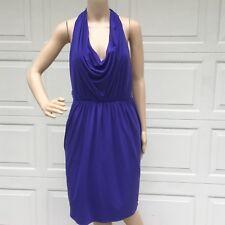 Vera Wang Lavender Label Purple Jersey Draped Dress Open Back Tie Purple Pockets