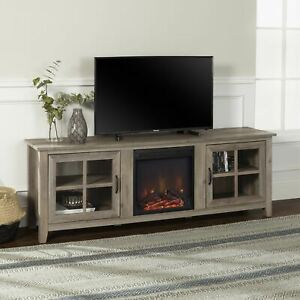 """Farmhouse Grey Wash Fireplace TV Stand for TVs up to 78"""" by Manor Park"""