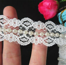 1 Metre White Pearl and Lace Beaded Trimming Vintage Wedding Bridal Ribbon DIY