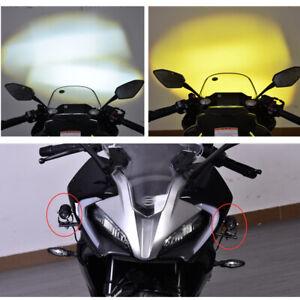 3000K Off-road Bike LED Spotlight Headlight ATV Fog Lamp White & Amber Universal