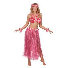 Hawaiian Honey Girl 5pc Pink Set Fancy Dress Costume Kit Summer Luau Party Adult