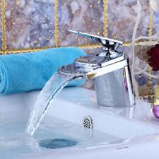 Bathroom Basin Faucet Brushed Nickel Waterfall Square Vanity Sink Mixer Tap Set