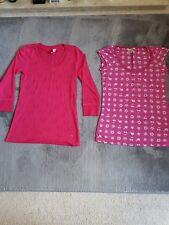 Bundle of 2 pink burnout t shirt tops M 10/12 skull & crossbones kawaii cherries