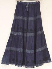 NWT Sacred Thread Indigo  Bohemian Crinkled Rayon Lace Embroidery Long SKIRT M