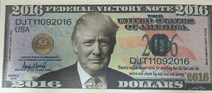 *(2) 2016 Trump Campaign Federal Victory Note Novelty Dollar First Term Election