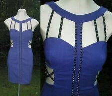 Edgy NAMELESS Blue Dress Cutouts Pointy Studs Studded Stretchy Body Con M