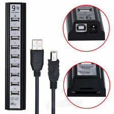 2 in 1 High Speed 9 Ports USB 2.0 Power HUB with SD Card Reader For PC Computer