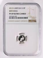 Great Britain 2013 Britannia 10 Pence 1/20 Oz. Silver Proof NGC PF69 Ultra Cameo