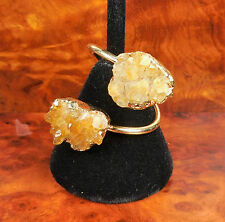 Citrine Ring Druzy Gemstone Gold Spiral GG51 Healing Crystals And Stones