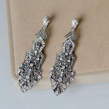 Ohrringe Mode Clips Silber Strass Art Deco Jahrgang Anhänger Hochzeit Lang B8