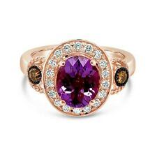 Nuevo Anillo Amatista Diamantes Chocolate Levian ® ® desnuda diamantes 14K Oro Rosa