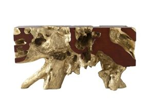 """58"""" Long Console Table Freeform Gold Leaf Sm Resin Composite 512"""