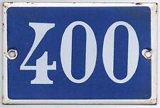 Old blue French house number 400 door gate plate plaque enamel steel metal sign