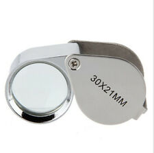 30 x 21mm Glass Jeweler Loupe Eye Magnifier Magnifying No Box,Silver 2018 Newly