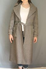Simple Long Gray Winter Pea Coat w/ Waist Tie and Pockets Women's Size Medium